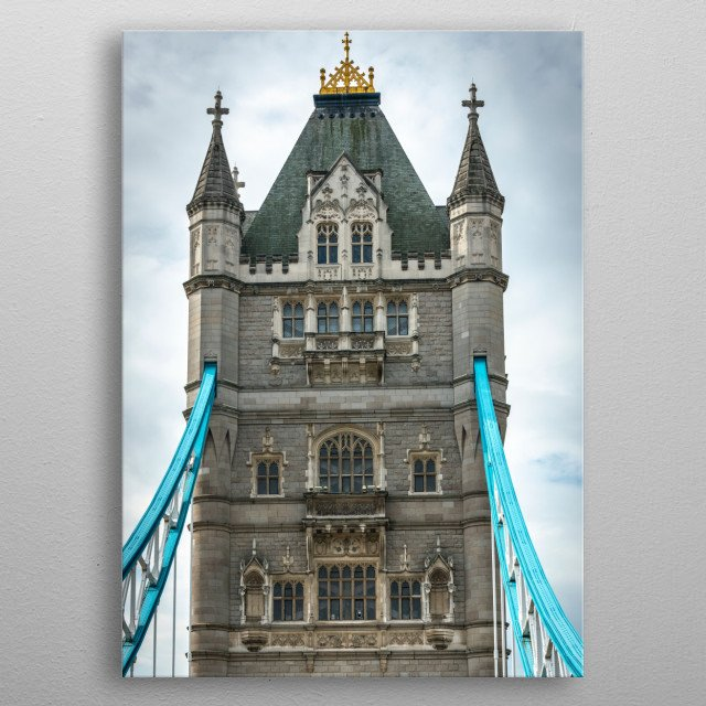 Tower Bridge is a combined bascule and suspension bridge in London, built between 1886 and 1894 and crosses the River Thames. metal poster
