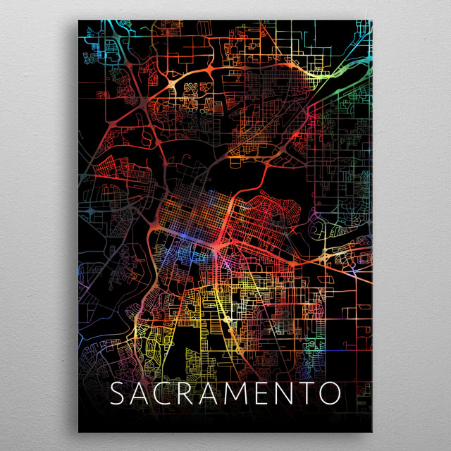 Sacramento California Watercolor City Street Map Dark Mode metal poster