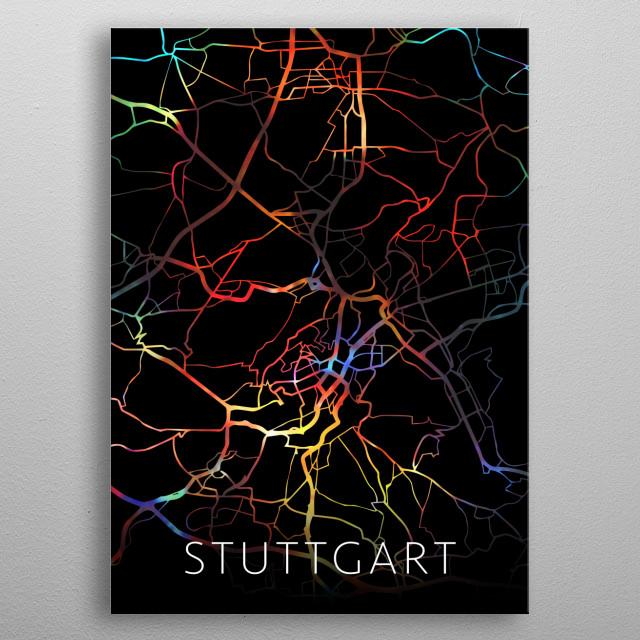 Stuttgart Germany Watercolor City Street Map Dark Mode metal poster