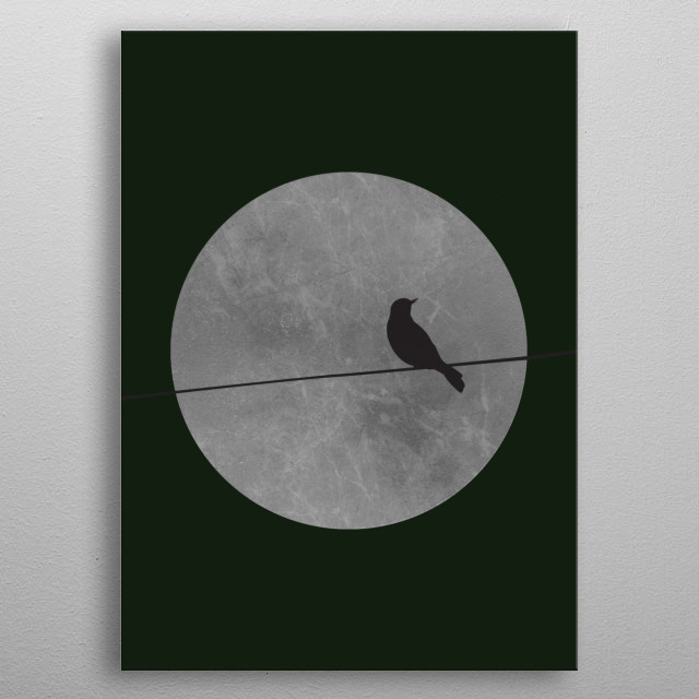 Lone Bird sitting on branch in a Full Moon Night. metal poster