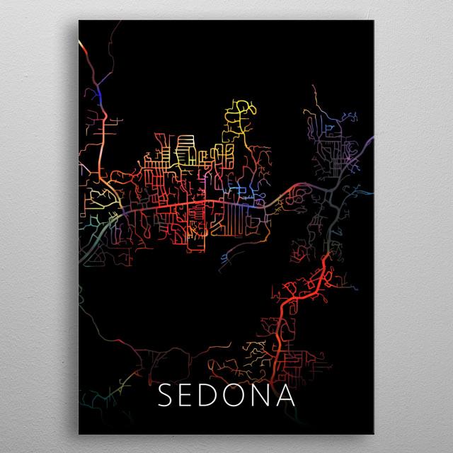 Sedona Arizona Watercolor City Street Map Dark Mode metal poster