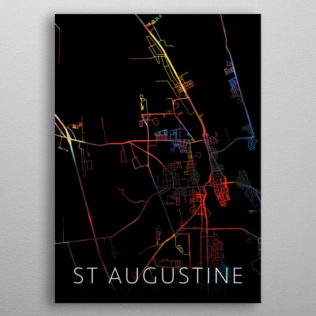St Augustine Florida Watercolor City Street Map Dark Mode metal poster