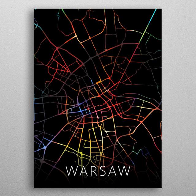 Warsaw Poland Watercolor City Street Map Dark Mode metal poster