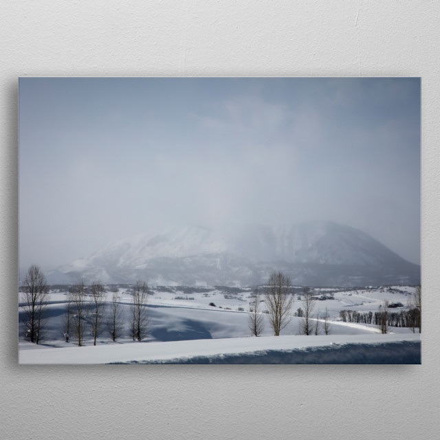 Fog obscures the mountains outside Steamboat Springs, Colorado  metal poster