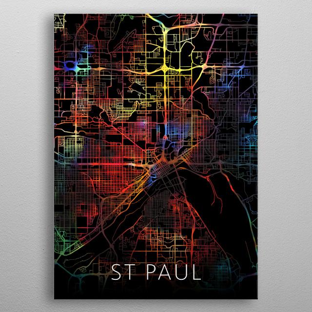 St Paul Minnesota Watercolor City Street Map Dark Mode metal poster