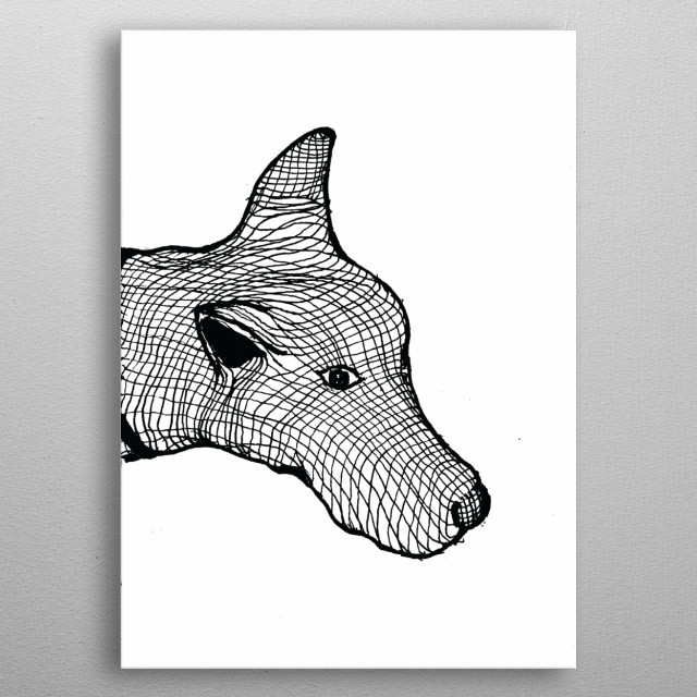 An art work inspired by a local dog named Cokie. She is trying to convey that, she is friendly and doesn't want to hide any more. metal poster