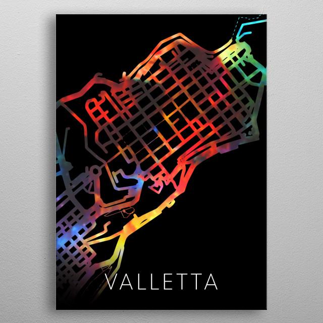Valletta Malta Watercolor City Street Map Dark Mode metal poster