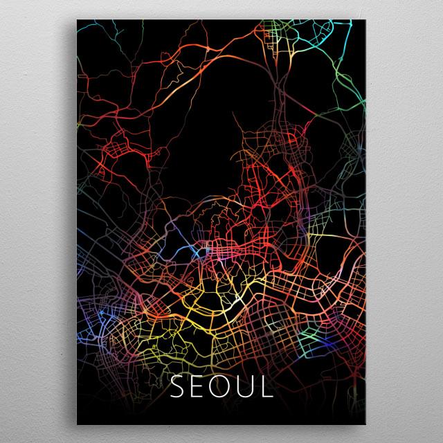 Seoul South Korea Watercolor City Street Map Dark Mode metal poster