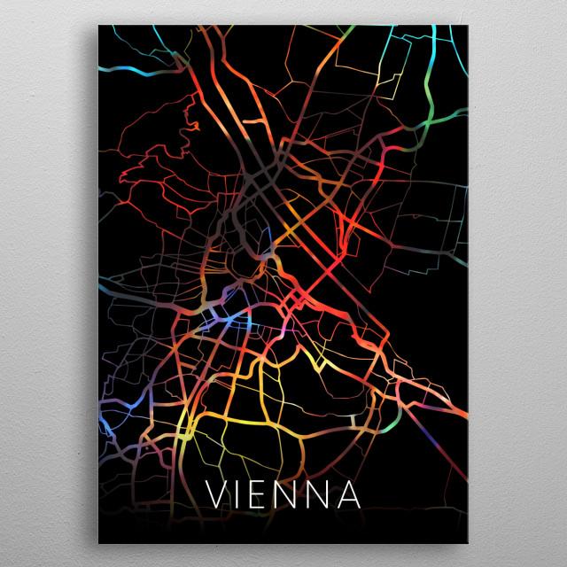 Vienna Austria Watercolor City Street Map Dark Mode metal poster