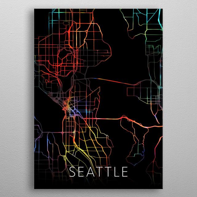 Seattle Washington Watercolor City Street Map Dark Mode metal poster