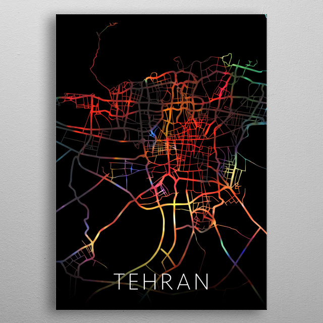 Tehran Iran Watercolor City Street Map Dark Mode metal poster