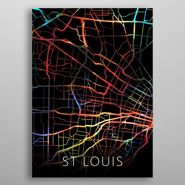 St Louis Missouri Watercolor City Street Map Dark Mode metal poster
