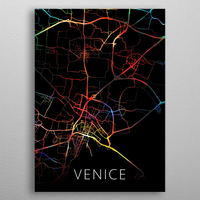 Venice Italy Watercolor City Street Map Dark Mode metal poster