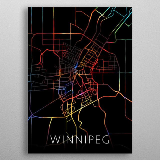 Winnipeg Manitoba Canada Watercolor City Street Map Dark Mode metal poster