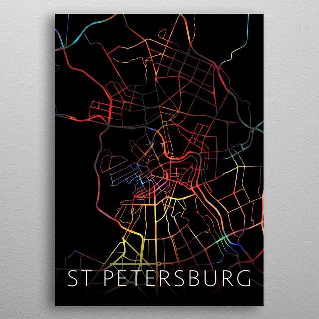St Petersburg Russia Watercolor City Street Map Dark Mode metal poster