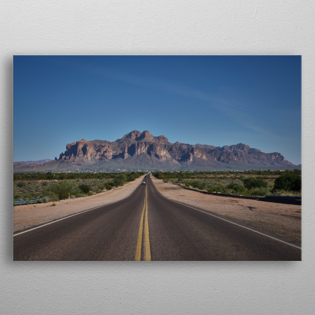 The Superstition Mountains, a condensed chain of peaks near Tortilla Flat, Ariizona, east of Phoenix, are a designated federal wilderness ar metal poster