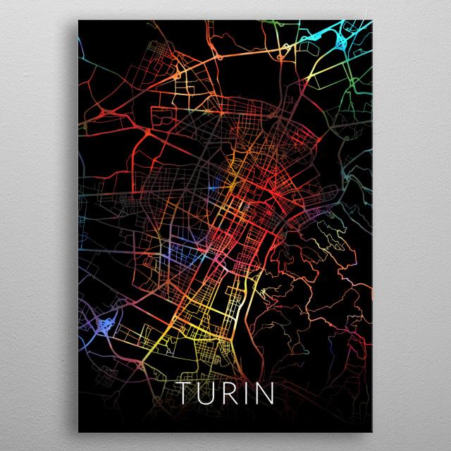 Turin Italy Watercolor City Street Map Dark Mode metal poster