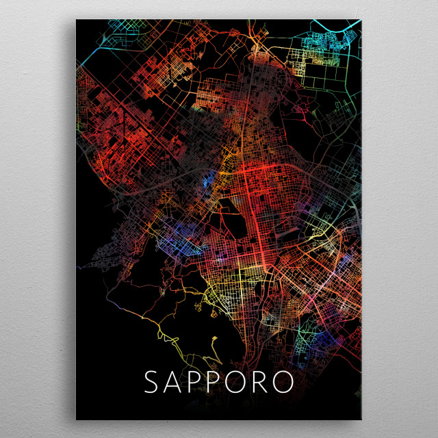 Sapporo Japan Watercolor City Street Map Dark Mode metal poster