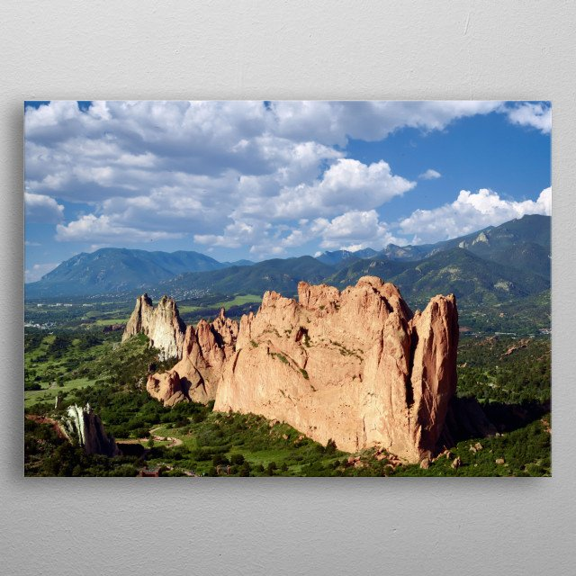 Aerial view of some of the standout red-rock formations at the Garden of the Gods, a municipally owned and free park in Colorado Springs, Co metal poster