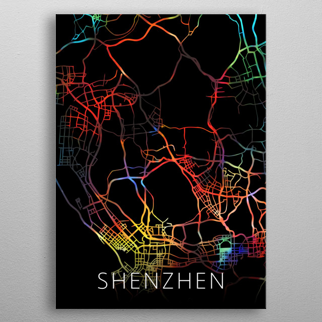 Shenzhen China Watercolor City Street Map Dark Mode metal poster