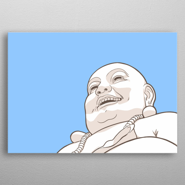 Stylized illustration of Laughing Buddha statue on blue background. Low angle. metal poster