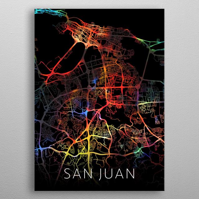 San Juan Puerto Rico Watercolor City Street Map Dark Mode metal poster