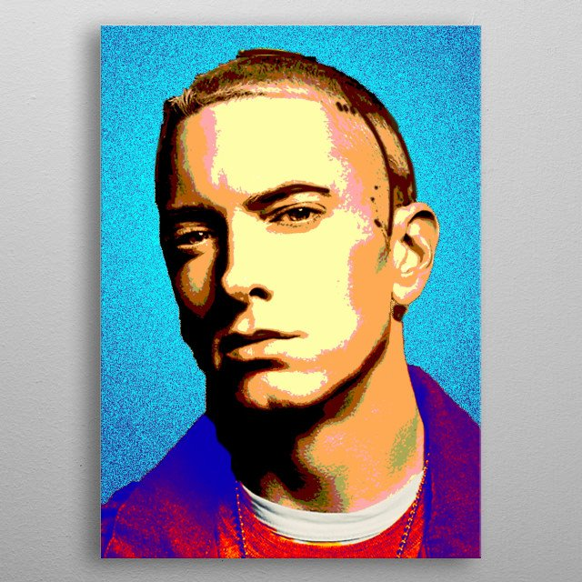 This colourful portrait painting was inspired by the music of Eminem, xxx love him. metal poster