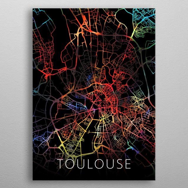 Toulouse France Watercolor City Street Map Dark Mode metal poster