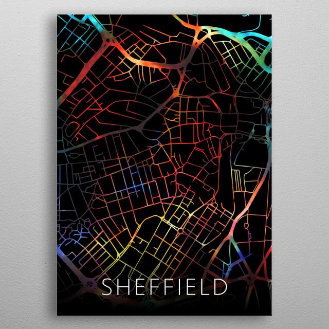Sheffield England United Kingdom Watercolor City Street Map Dark Mode metal poster
