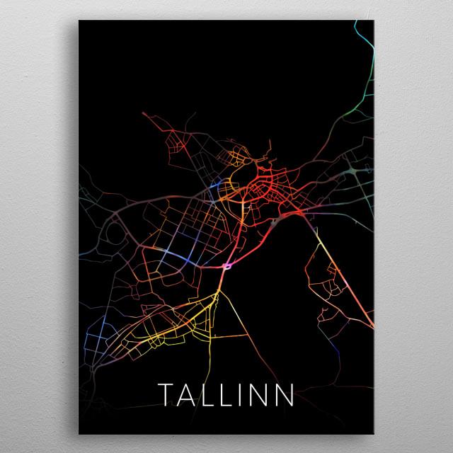 Tallinn Estonia Watercolor City Street Map Dark Mode metal poster