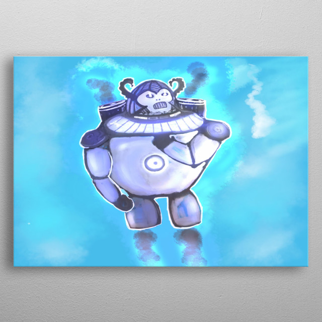 A pretty intuitive design of a robotic humanoid in a suit metal poster