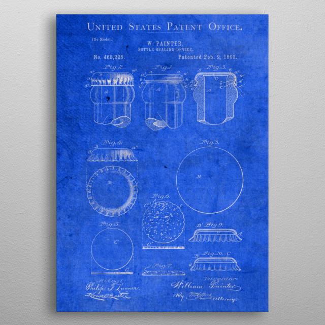 Bottle Sealing Device Cap Vintage Patent Blueprint metal poster