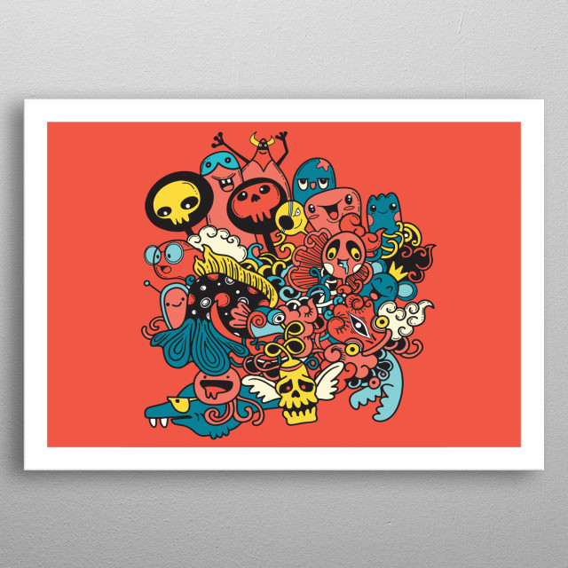 Monsters and cute alien friendly, cool, cute hand-drawn monsters collection  metal poster