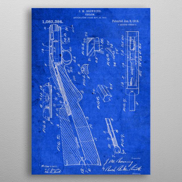 Browning Firearm Vintage Patent Blueprint metal poster