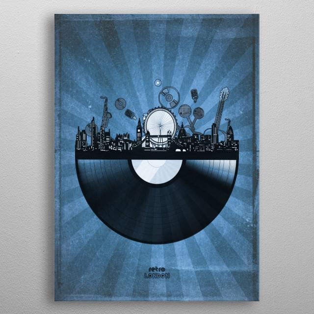 London skyline inspired by pop art,retro,vinyl,art design metal poster