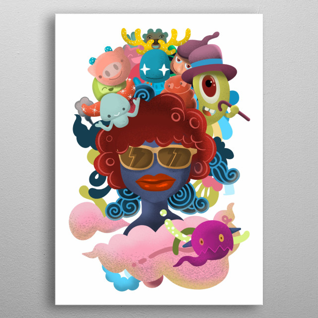 Cute  Monsters group ,Set of funny cute monsters, aliens or fantasy animals for greeting card metal poster