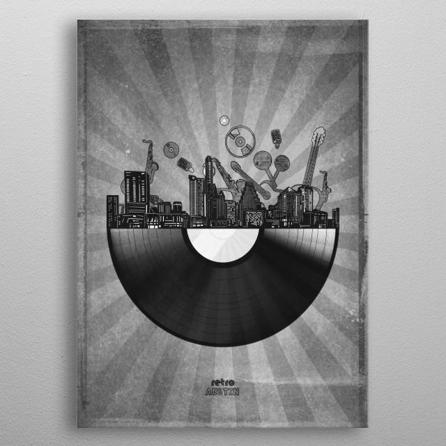 Austin skyline inspired by pop art,retro,vinyl,art design metal poster