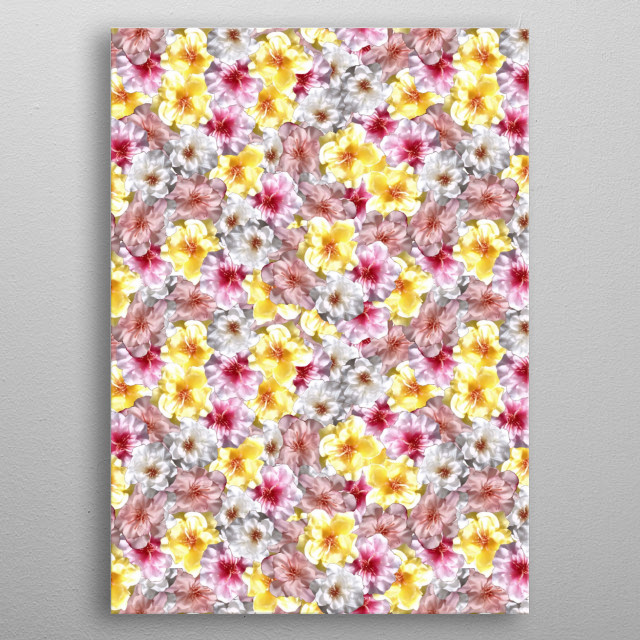 A tropical flower collage, reminds me of pictures of Bali!  metal poster