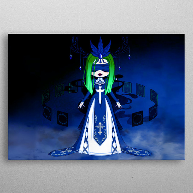 Green Velvet is young mystical empath who is daughter of a demon but she was a good creature. She use her magical powers to save the world metal poster