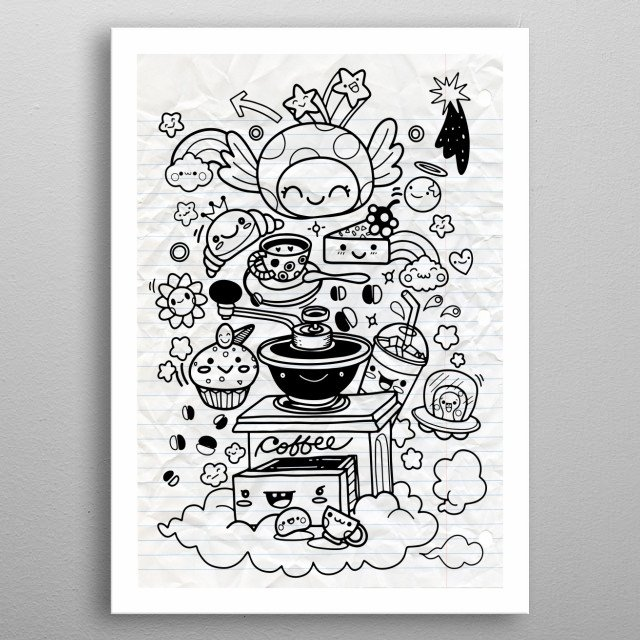 Funny breakfast set. Comic characters. illustration of Doodle cute Monster background, Hand drawing Doodle metal poster