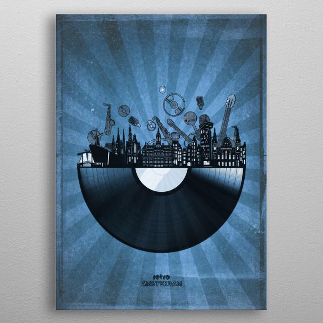 Amsterdam skyline inspired by pop art,retro,vinyl,art design metal poster