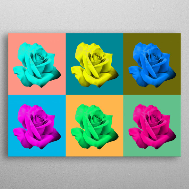 Digitalized pink rose in various compositions. metal poster