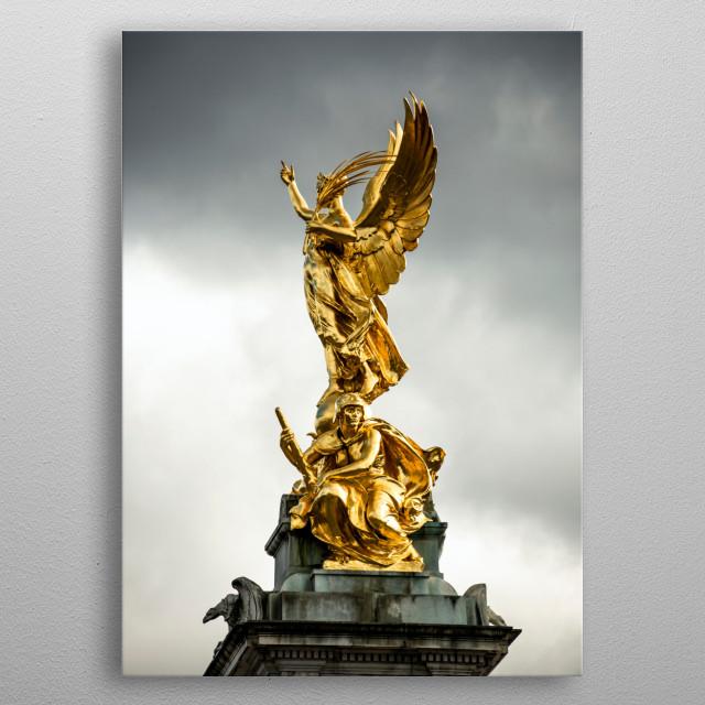 Statue next to Buckingham Palace metal poster