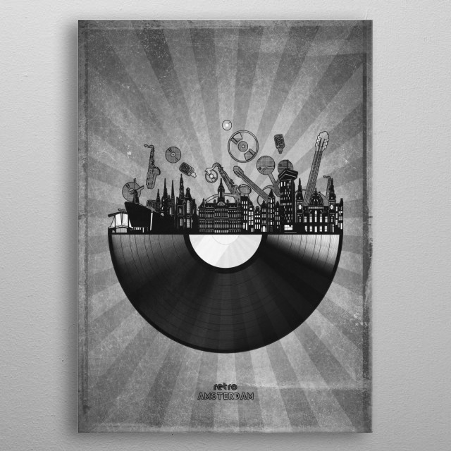 Amsterdam skyline inspired by pop art,retro,vinyl,art design metal poster