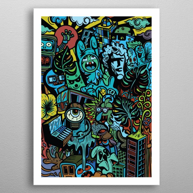 Cute  Monsters group ,Set of funny cute monsters, aliens or fantasy animals for greeting card , APR19 metal poster