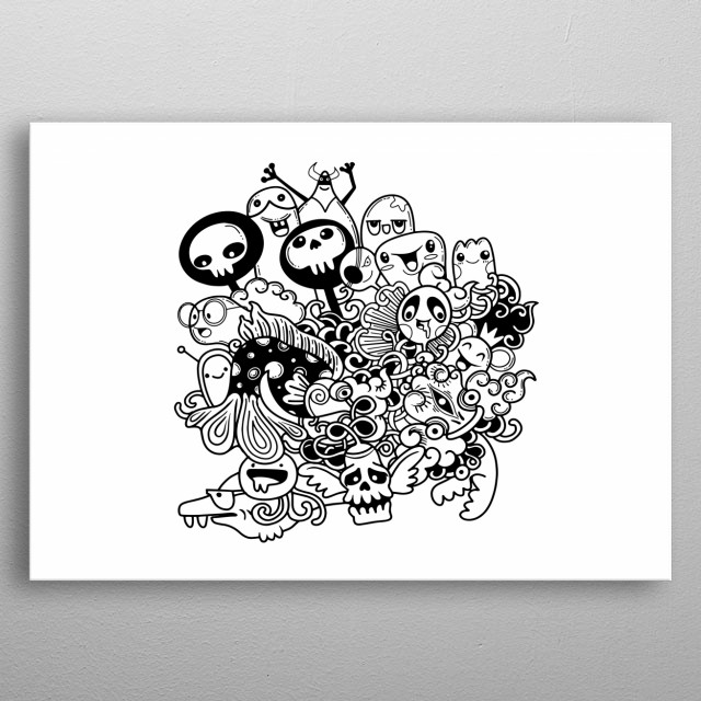 Monsters and cute alien friendly, cool, cute hand-drawn monsters collection , APR19 metal poster