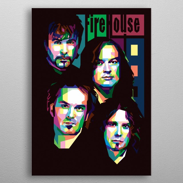firehouse band in wpap vector portrait illustration metal poster
