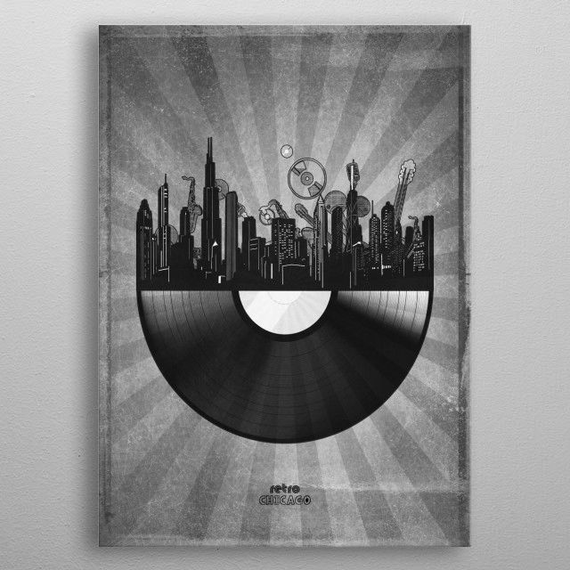 Chicago skyline inspired by pop art,retro,vinyl,art design metal poster