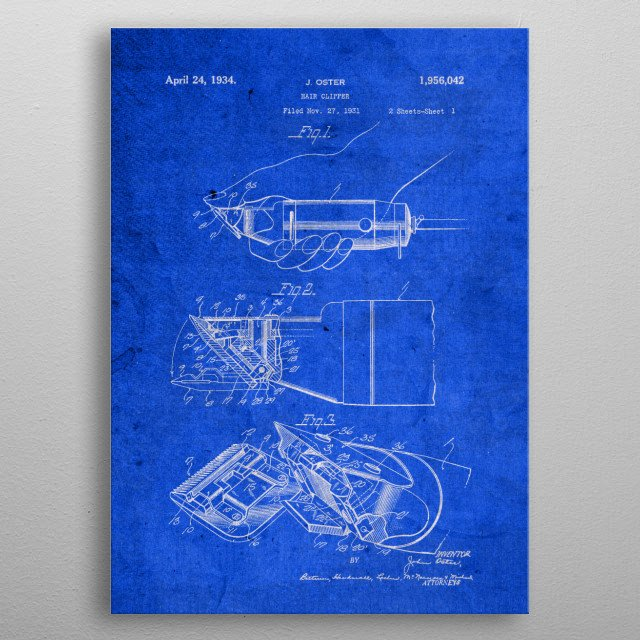 Hair Clippers Vintage Patent Blueprint metal poster
