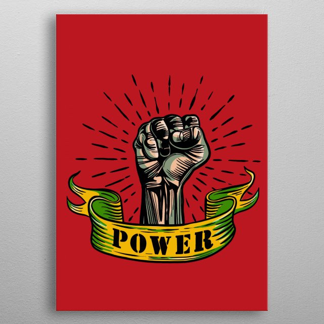 Fist male hand, proletarian protest symbol. Power sign metal poster